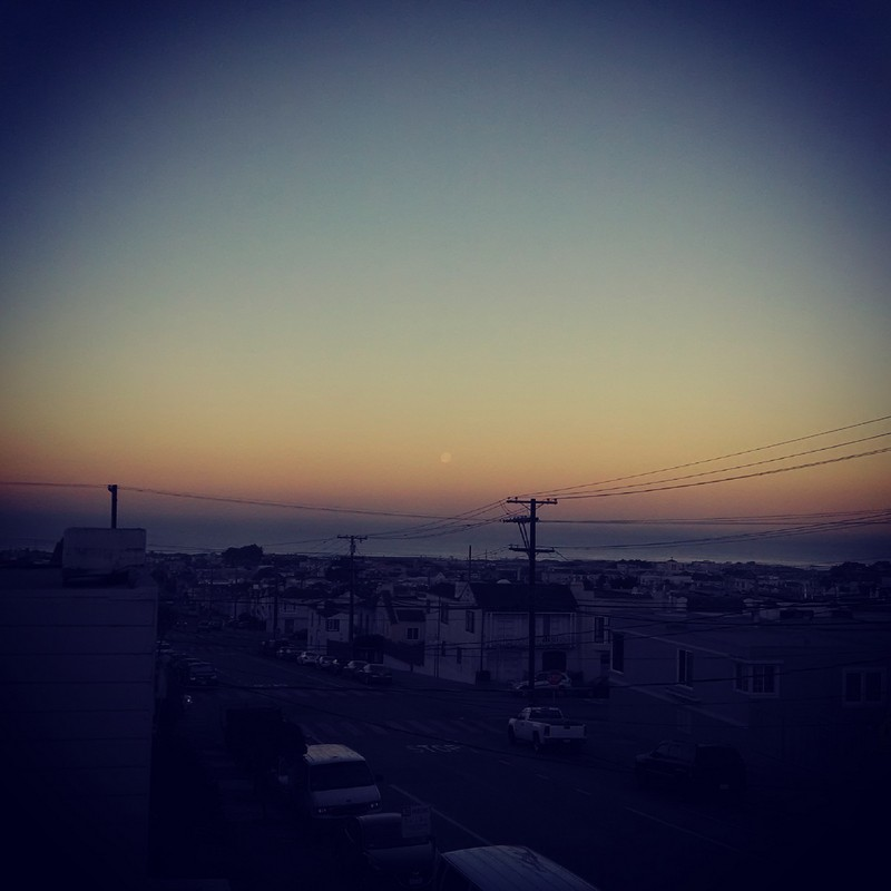 Moonset over the Pacific